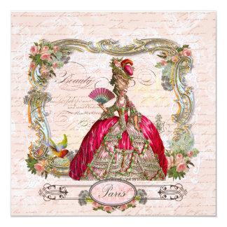 Marie Antoinette Hot Pink & Paris 13 Cm X 13 Cm Square Invitation Card