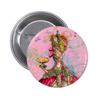 Marie Antoinette Hot Pink & Peacock 6 Cm Round Badge