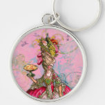 Marie Antoinette Hot Pink & Peacock Silver-Colored Round Key Ring