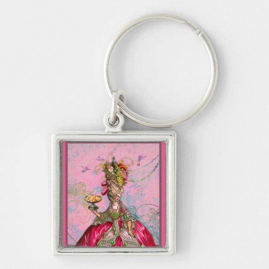 Marie Antoinette Hot Pink & Peacock Silver-Colored Square Key Ring