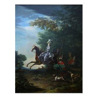 Marie Antoinette Hunting by Louis Auguste Brun Postcard