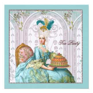 Marie Antoinette in Aqua with Cake Personalized Announcement