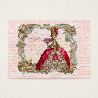Marie Antoinette in Hot Pink with Pink Roses Business Card
