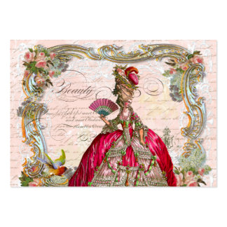 Marie Antoinette in Hot Pink with Pink Roses Pack Of Chubby Business Cards