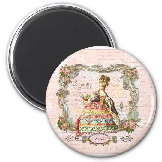 Marie Antoinette in Pink 6 Cm Round Magnet