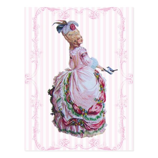 Marie Antoinette In Pink Invitation Postcards