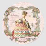 Marie Antoinette in Pink Round Stickers