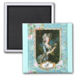 Marie Antoinette Lace Pink Roses Fridge Magnets