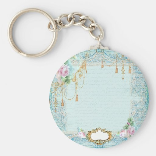 Marie Antoinette Lace Pink Roses Basic Round Button Key Ring