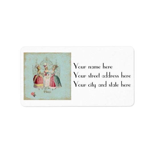 Marie Antoinette Ladies in Waiting Address Label