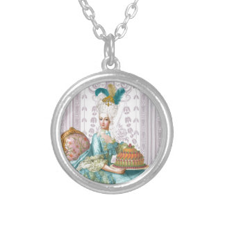 Marie Antoinette Let the eat Cake Round Pendant Necklace