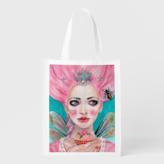 Marie Antoinette Let them eat cupcake - Pink Hair Reusable Grocery Bag