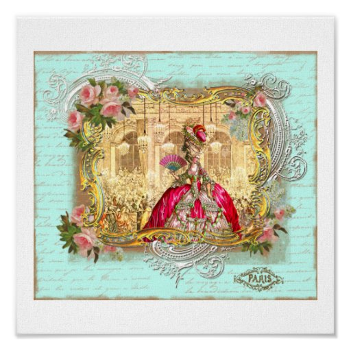 Marie Antoinette Party at Versailles in Aqua Poster