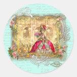 Marie Antoinette Party at Versailles in Aqua Round Sticker