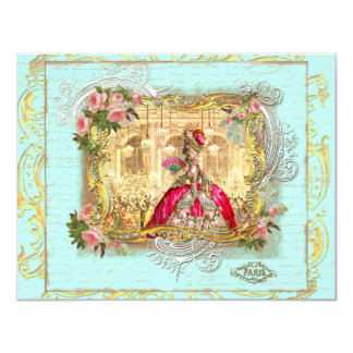 Marie Antoinette Party at Versailles Postcard Card 11 Cm X 14 Cm Invitation Card