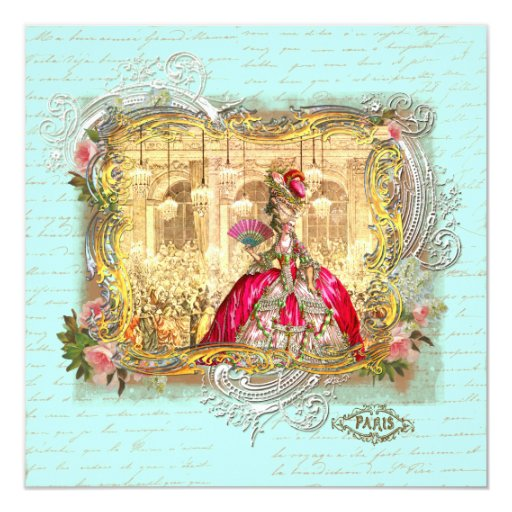 Marie Antoinette Party at Versailles Stationery 13cm X 13cm Square Invitation Card