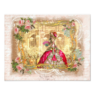Marie Antoinette Party in Pink at Versailles 11 Cm X 14 Cm Invitation Card
