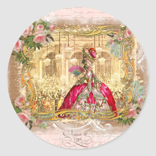 Marie Antoinette Party in Pink at Versailles Round Sticker
