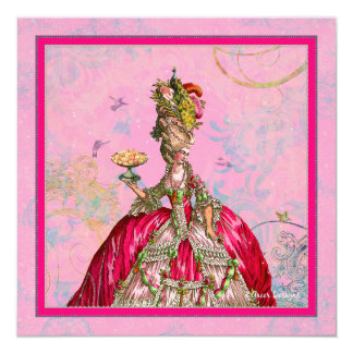 Marie Antoinette Peacock and Hot Pink 13 Cm X 13 Cm Square Invitation Card