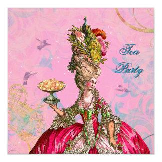 "Marie Antoinette & Peacock 5.25"" Square Invitation Card"