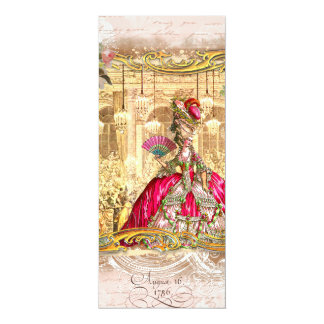 Marie Antoinette Pink Party at Versailles 10 Cm X 24 Cm Invitation Card