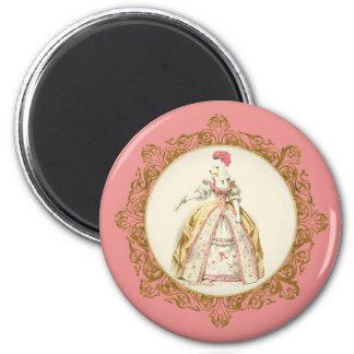 Marie Antoinette Poodle 6 Cm Round Magnet