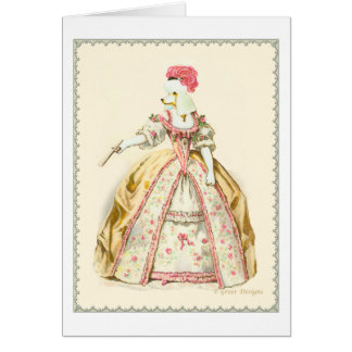 Marie Antoinette Poodle Fashion Plate Stationery Greeting Card
