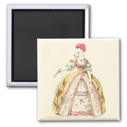 Marie Antoinette Poodle Fashion Plate Stationery Square Magnet