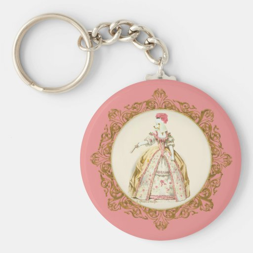 Marie Antoinette Poodle Basic Round Button Key Ring