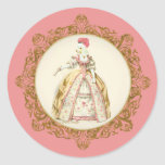Marie Antoinette Poodle Round Sticker