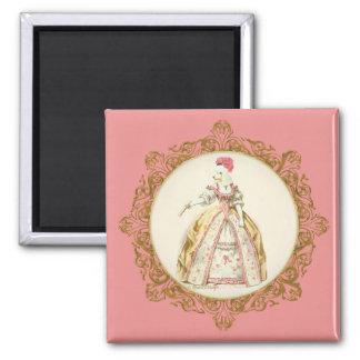 Marie Antoinette Poodle Square Magnet