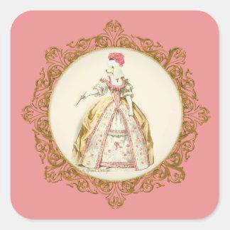 Marie Antoinette Poodle Square Sticker