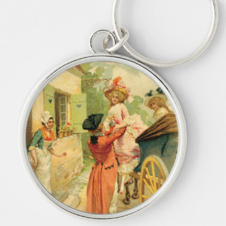 Marie Antoinette romantic Style Vintage Art Design Silver-Colored Round Key Ring