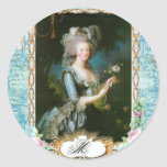 Marie Antoinette Roses and Lace Round Stickers