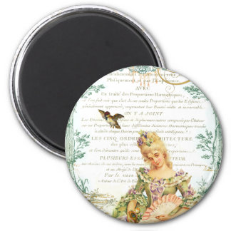 Marie Antoinette & Sparrow 6 Cm Round Magnet