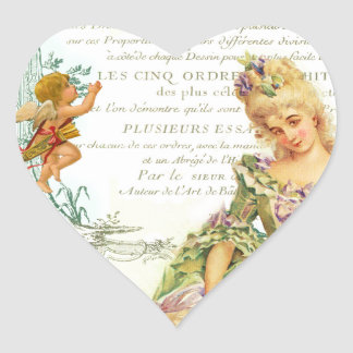 Marie Antoinette & Sparrow Heart Sticker