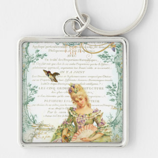 Marie Antoinette & Sparrow Silver-Colored Square Key Ring