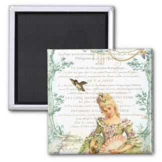 Marie Antoinette & Sparrow Square Magnet