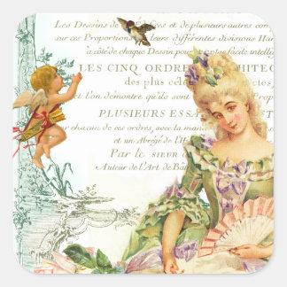 Marie Antoinette & Sparrow Square Sticker