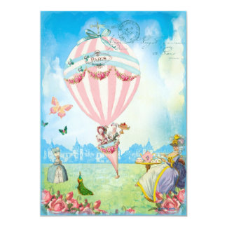 """Marie Antoinette Tea at Versailles Lawn Party 5"""" X 7"""" Invitation Card"""