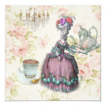 "marie antoinette tea pot floral birthday party 5.25"" square invitation card"