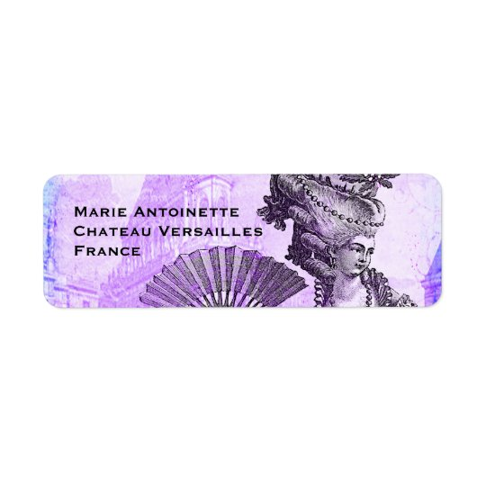 Marie Antoinette & Versailles Castle in Purple Return Address Label