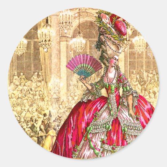 Marie Antoinette Versailles Christmas Tea Party Classic Round Sticker