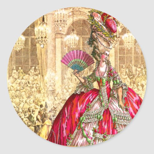 Marie Antoinette Versailles Christmas Tea Party Round Sticker