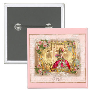 Marie Antoinette Versailles Party Pink 15 Cm Square Badge