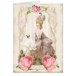 Marie Antoinette White dress&Pink Roses Card