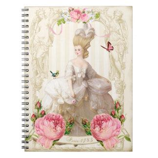 Marie Antoinette White Dress&Pink Roses Notebook