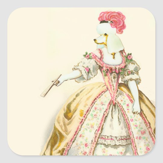 Marie Antoinette White Poodle Square Sticker