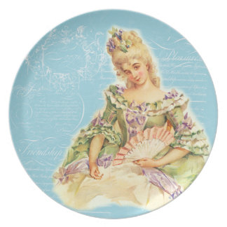 Marie Antoinette with Fan Party Plate