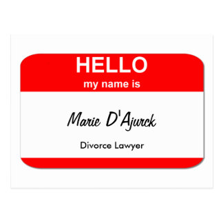 Marie D'Ajurck, Divorce Lawyer Postcard
